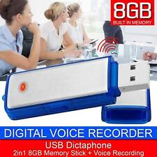 USB 8gb Digital Dictaphone Voice Recorder Spy Listening Device Memory Stick Bt30