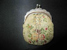 ancienne rare aumonière bourse miniature de poupée en tissu brodé XIX ème