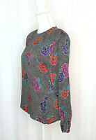Vintage Anne Klein II 100% Silk Long Sleeve Blouse Back Button Sz Sm Pre-Owned