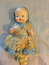 """Irwin Vintage plastic or celluloid 11"""" baby in crocheted outfit"""