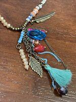 "Vintage Bohemian Lead Crystal Feather long tassel Beaded necklace Pendant 32"""