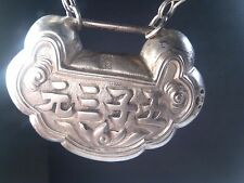 Antique Chinese Lock Silver Pendant/Necklace w/Chain by Mercurysmoon
