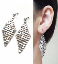 Silver Mesh Dangle Invisible Clip On Earrings Shiny Scarf Clip-on Earrings