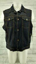 Black Vest Jean Jacket Denim Xelement Armor Padded  Motorcycle Size XL