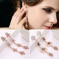 Charm Womens Rose Gold Crystal Rhinestone Dangle Drop Earrings Wedding Jewellery
