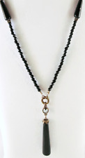£50 Art Nouveau Boho Gold Black Pendant Long Necklace Swarovski Elements Crystal