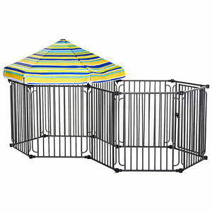 PawHut Pet Playpen w/ Door & Cover 10 Panels for Most Medium Sized Dogs