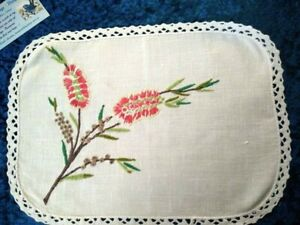 Australian Wild Flowers ~ Red Bottle Brush   Vintage Hand Embroidered centre/mat
