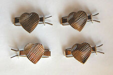 VINTAGE 4 SILVER ALL METAL TINY SMALL BARRETTES BARRETTE HAIR CLIPS • HEARTS
