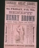 VICTORIAN POSTER , SANGERS GREAT CIRCUS, BOAR LANE , LEEDS **(SEE DESCRIPTION)**