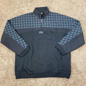 Adidas Originals Quarter Zip Mens Large Sweatshirt Black/Gray New