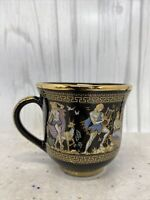 Greek Tea Cup Hand Made in Greece Black & 24k Gold Accents SM