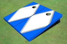 White And Blue Matching Diamond Custom Cornhole Board