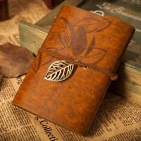Retro Leather Vintage String Leaf Blank Diary Notebook Journal Sketchbook YLW Aм