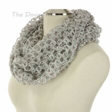 KOHL'S Open Weave INFINITY WHITE & GRAY SCARF with PINK METALLIC Winter LOOP