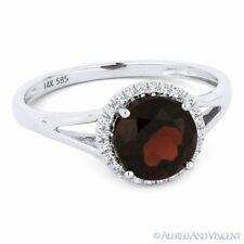 2.00ct Round Cut Garnet & Diamond Halo Promise Engagement Ring in 14k White Gold