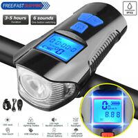 LED Fahrradlampe Odometer USB Akku Radlicht Fahrradlicht Vorne Lampe+Horn Kit