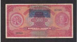 500 KORUN FINE SPECIMEN PERFORATED BANKNOTE FROM SLOVAKIA 1939 PICK-2