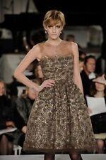$9K ICONIC DIVINE GLAMOROUS Oscar De La Renta beige/ bronze sequin/feather dress