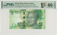 Nelson Mandela South Africa 10 Rand Banknote PMG Gem UNC 66 EPQ 2013 138a