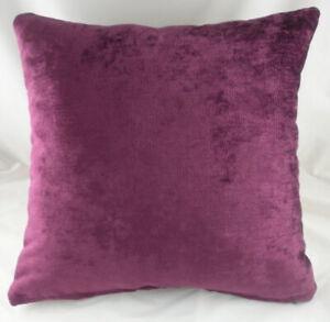 """Regency PLUM Velvet Vibrant Filled Cushion 17"""" Thick Velvet Deep Dye UK Made"""