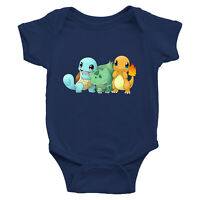 Infant Baby Boy Girl Rib Bodysuit Clothes Print Cute Starter Bulb asaur Squirtle