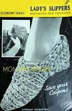 Vintage 40s Crochet Pattern Photocopy Ladys Slippers To Make From Silk Stockings