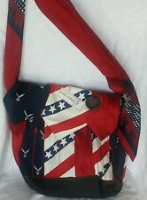 American Flag Patriotic Purse Hand Bag Hand Made Sewn of Ties L@@K! NO RESERVE