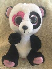Ty White Black Sparkly Pink Panda Beanie Boo Mandy