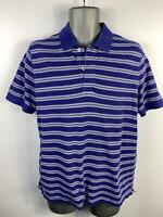 MENS MASSIMO DUTTI BLUE/WHITE SHORT SLEEVE CASUAL CREW NECK POLO SHIRT SIZE M
