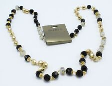 New Gold Chain Necklace with Black Gold & White Beads by Studio S #N2630