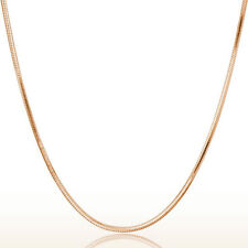 Womens Mens Rose Gold Plated 925 Sterling Silver Round snake Chain Necklace Gift