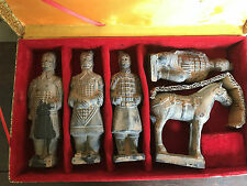 Chinese Terracotta Of Qin Dynasty Emperor Warriors Figurines Replica 5 Piece Box