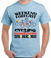 Cycling T-Shirt  Mens Funny Bike Bicycle Weekend Forecast DrinkingMountain Road