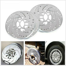 2PACK Silver Tone Aluminum Cross Drilled Car Disc Brake Rotor Cover 4/5 wheel KY