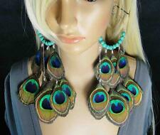 148a3-11 One Pair Turquoise Peacock Feather Dangle Earrings Jewelry LW120827