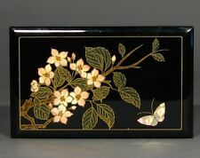 Vintage Japanese Jewelry Box, Flowers and Butterfly, Mirror, Japan
