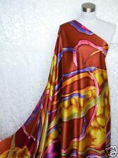 100% Silk Satin Charmeuse Fabric Bold Art M03 Per Yard