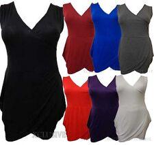 New Womens Plus Size V neck Flared Drape Tunic Mini Party Dress Tops