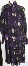 TULEH Black Purple Pleated Silk Chiffon Dress NEW sz 10