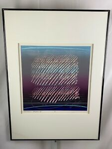 Signed Harmonic Variant X / 1980s Washington Seattle Gallery ARTIST Framed 32x23