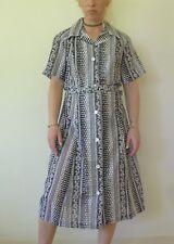 Vintage retro 70s L unused cotton button through Midi shirt dress NOS Ruby Robes