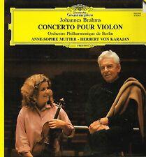 """LP 12"""" 30cms: Johannes Brahms: concerto pour violon. Mutter - Karajan. DG. D5"""