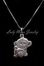 "S990 Fine Silver Chinese Zodiac Animal Sign-Monkey Pendant Necklace 17.5"""