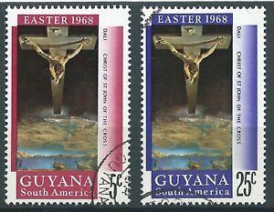 GUYANA  STAMPS - 1968 Easter Crucifixion - Set of 2 Cancelled OG