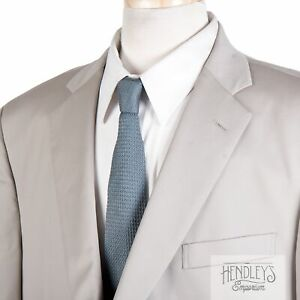 BROOKS BROTHERS Hand Tailored Mens Blazer 48R Stone Beige Wool Logo Buttons USA