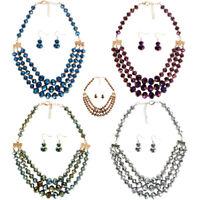 Fashion Crystal Chain Pendant Bib Choker Statement Necklace Earrings Set Gift