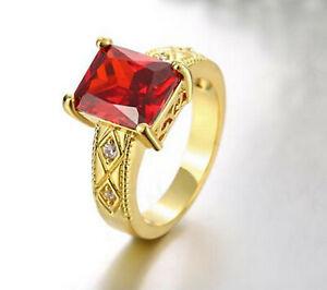 Simple Radiant Cut Ruby CZ 18K gold plating Wedding Ring men Jewelry SZ 9
