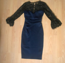 BNWT- Navy Blue & Black Lace Bodycon Lipsy Midi Dress with 3/4 Sleeves Size 4-6