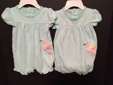 Baby Girl TWINS 3/6 Months Identical PInk Flamingo Rompers Bodysuits Carters